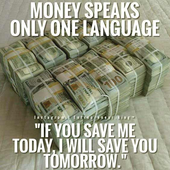 Motivational Money Savings Quote in English