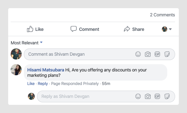 Facebook comment screen shot